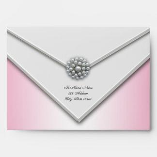 Sobres rosados y blancos de la perla blanca rosada