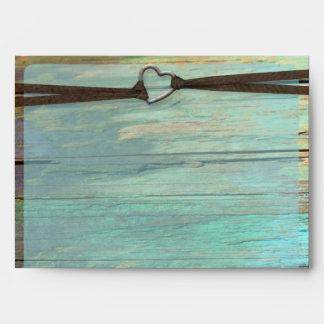 Sobres rústicos de madera de la turquesa de la heb