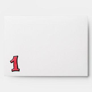 Sobres tontos de la tarjeta roja de los números 1
