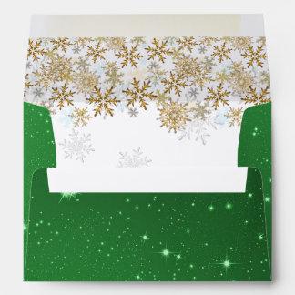 Sobres verdes del navidad A7 de las estrellas