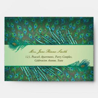 Sobres verdes elegantes de la pluma del pavo real