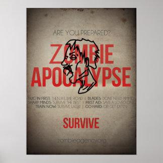 ¡Sobreviva el poster de la apocalipsis del zombi!