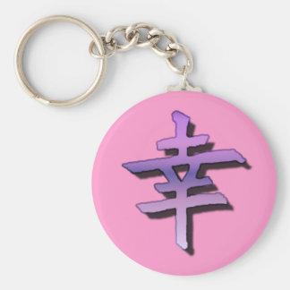 Sobreviva la púrpura china del rosa del símbolo llavero redondo tipo pin