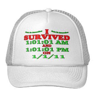Sobreviví 1-1-11 (la Feliz Año Nuevo) Gorros Bordados
