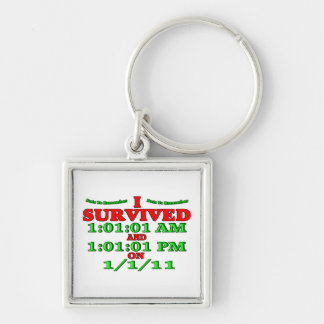 Sobreviví 1-1-11 (la Feliz Año Nuevo) Llavero Cuadrado Plateado