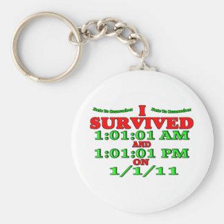 Sobreviví 1-1-11 (la Feliz Año Nuevo) Llavero Redondo Tipo Pin