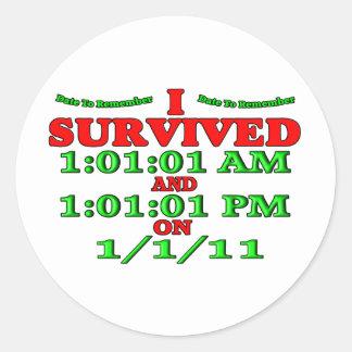 Sobreviví 1-1-11 (la Feliz Año Nuevo) Pegatina Redonda