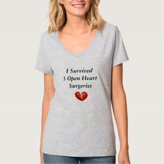 Sobreviví 3 cirugías de corazón abiertas playera