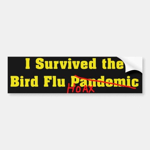 Sobreviví a la broma del pandémico de la gripe avi pegatina para auto