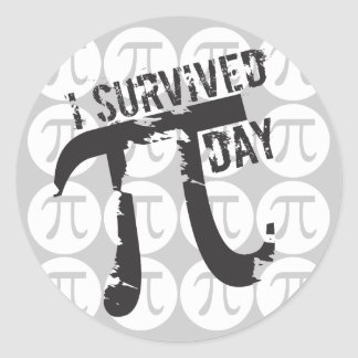 Sobreviví a los pegatinas del día del pi - pi dive pegatinas redondas