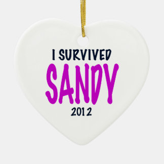 SOBREVIVÍ A SANDY 2012, charteuse, superviviente Adorno Navideño De Cerámica En Forma De Corazón