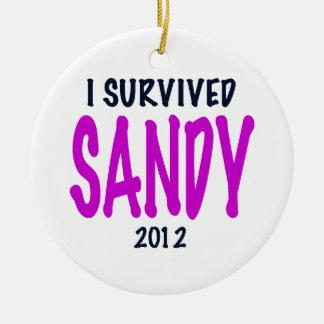 SOBREVIVÍ A SANDY 2012, charteuse, superviviente Adorno Navideño Redondo De Cerámica