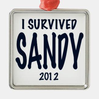 Sobreviví a Sandy 2012, huracán Sandy Adorno Navideño Cuadrado De Metal