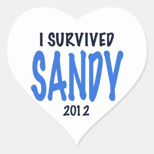 SOBREVIVÍ A SANDY 2012, lt. azul, GIF del Pegatina En Forma De Corazón