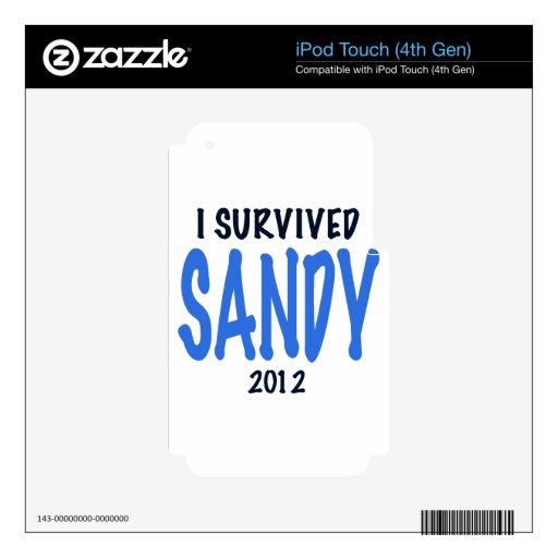 SOBREVIVÍ A SANDY 2012, lt. azul, GIF del superviv Calcomanías Para iPod Touch 4G