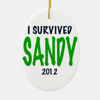 SOBREVIVÍ A SANDY 2012, verde, regalos de Sandy Adorno Navideño Ovalado De Cerámica