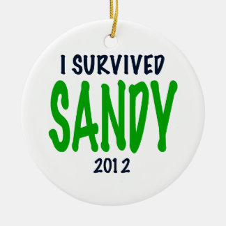 SOBREVIVÍ A SANDY 2012, verde, regalos de Sandy Adorno Navideño Redondo De Cerámica