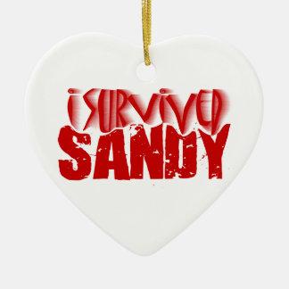 sobreviví a SANDY Adorno Navideño De Cerámica En Forma De Corazón