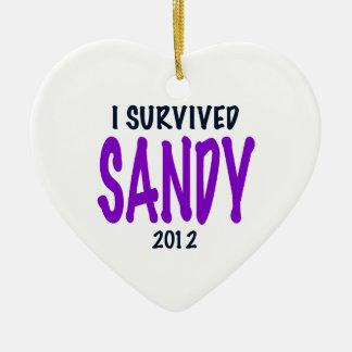 SOBREVIVÍ A SANDY, púrpura, regalos del Adorno Navideño De Cerámica En Forma De Corazón