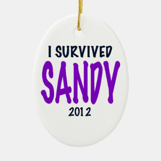 SOBREVIVÍ A SANDY, púrpura, regalos del Adorno Navideño Ovalado De Cerámica