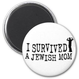 Sobreviví a una mamá judía - humor del judío imán redondo 5 cm