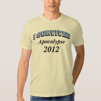 Sobreviví (apoc) 2012 camisetas, texto azul playeras