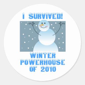 ¡Sobreviví! Central eléctrica del invierno de 2010 Pegatina Redonda