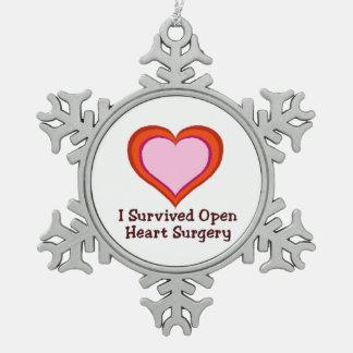 Sobreviví cirugía de corazón abierta adorno de peltre en forma de copo de nieve