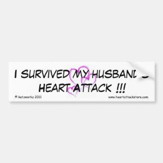 Sobreviví el ataque del corazón a mi marido pegatina para auto