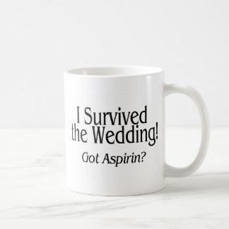 Sobreviví el boda conseguido Aspirin Taza De Café