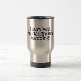 Sobreviví el boda de mi hija taza de viaje de acero inoxidable