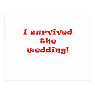 Sobreviví el boda tarjetas postales