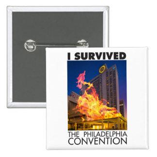 Sobreviví el botón del convenio de Philadelphia Pin Cuadrado