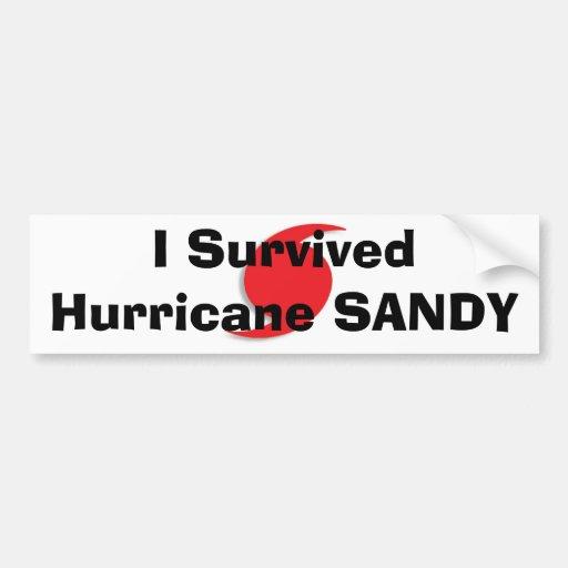 Sobreviví el bumpersticker de SANDY del huracán Etiqueta De Parachoque