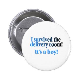 Sobreviví el cuarto de entrega su un muchacho pin redondo de 2 pulgadas