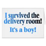 Sobreviví el cuarto de entrega su un muchacho felicitación