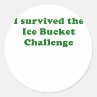 Sobreviví el desafío del cubo de hielo pegatina redonda