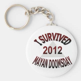 Sobreviví el día del juicio final maya 2012 llavero redondo tipo pin