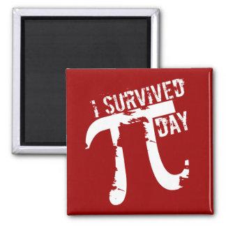 Sobreviví el día del pi - día divertido del pi imán cuadrado