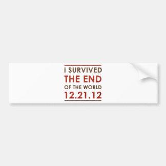 Sobreviví el extremo del mundo 12.21.12 pegatina para auto