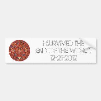 Sobreviví el extremo del mundo 12-21-2012 pegatina de parachoque