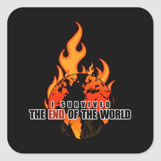 Sobreviví el extremo del mundo pegatina cuadrada