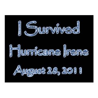 Sobreviví el huracán Irene agosto 28,2011 Tarjeta Postal