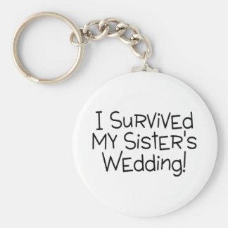 Sobreviví el negro del boda de mi hermana llavero redondo tipo pin