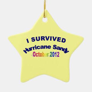 Sobreviví el ornamento de Sandy del huracán Adorno Navideño De Cerámica En Forma De Estrella