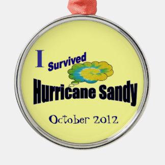 Sobreviví el ornamento de Sandy del huracán Adorno Navideño Redondo De Metal