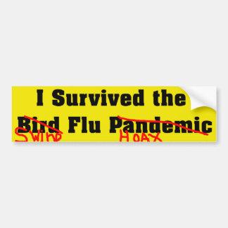 Sobreviví el pandémico de la gripe aviar pegatina de parachoque