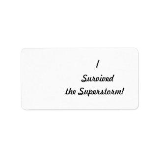 ¡Sobreviví el superstorm Etiquetas De Dirección