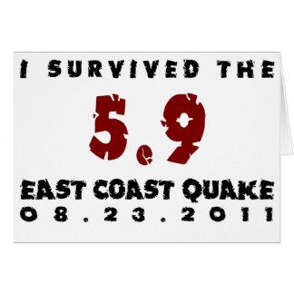 Sobreviví el temblor 2011 de la costa este tarjeta de felicitación