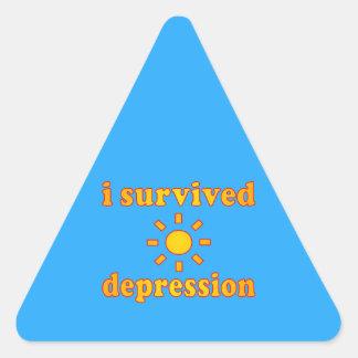 Sobreviví felicidad de la salud mental de la pegatina triangular